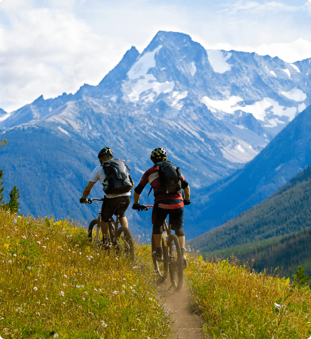 Two tourists taking a mountain bike tour