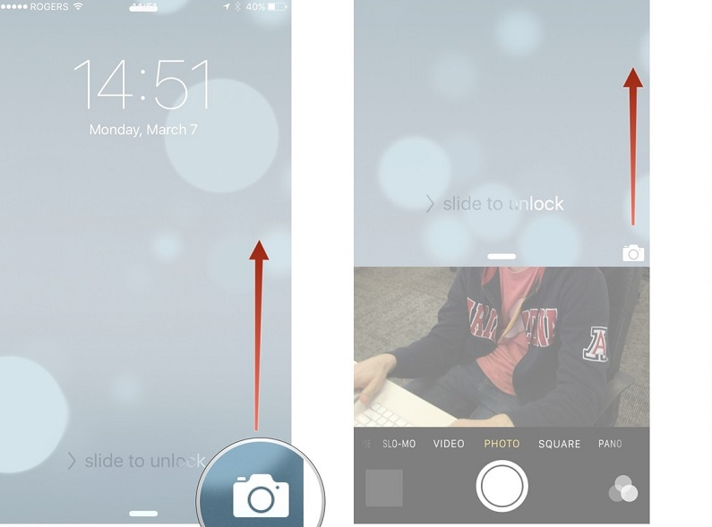 Camera, iphone, quick launch screens, taking a photo, feature