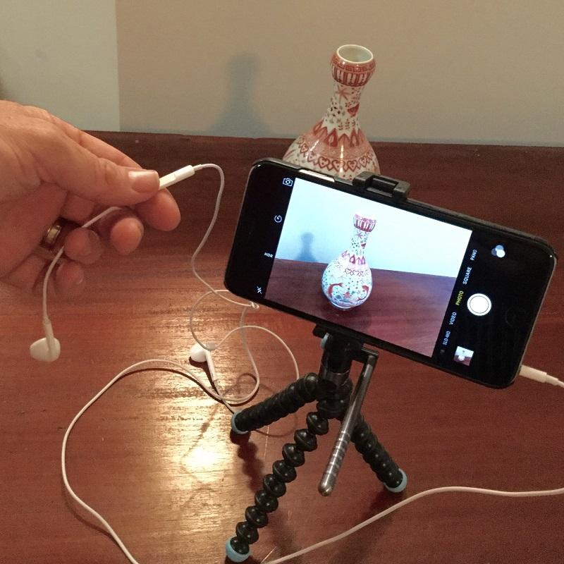 FullSizeRender-3, tripod, iPhone, camera, taking a photo, headphones