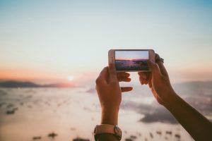 sunset, taking a photo, smartphone, iphone, camera