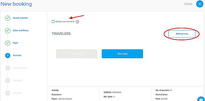 orioly, create booking, free online booking software, add travelers