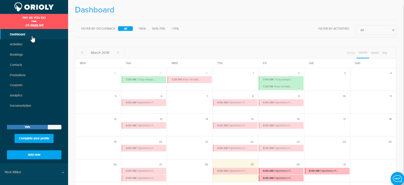 Start with Dashboard - Orioly Documentation