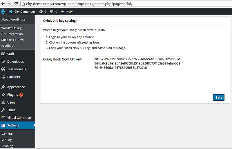 orioly, create, booking, book, now, plugin, api, key