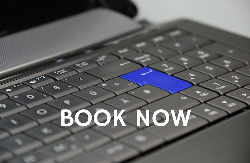 Online booking, book now, keyboard