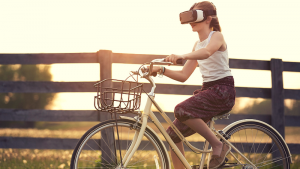 virtual reality marketing promotion, girl, cycle, experiential marketing