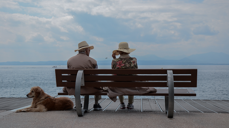 Baby Boomers, senior travelers, senior citizens, old couple, older adults, dog
