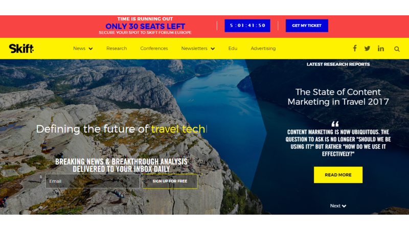 skift, travel websites for tour operators, travel websites, travel industry, travel websites to learn from, tour and travel, travel news, travel industry trends, website