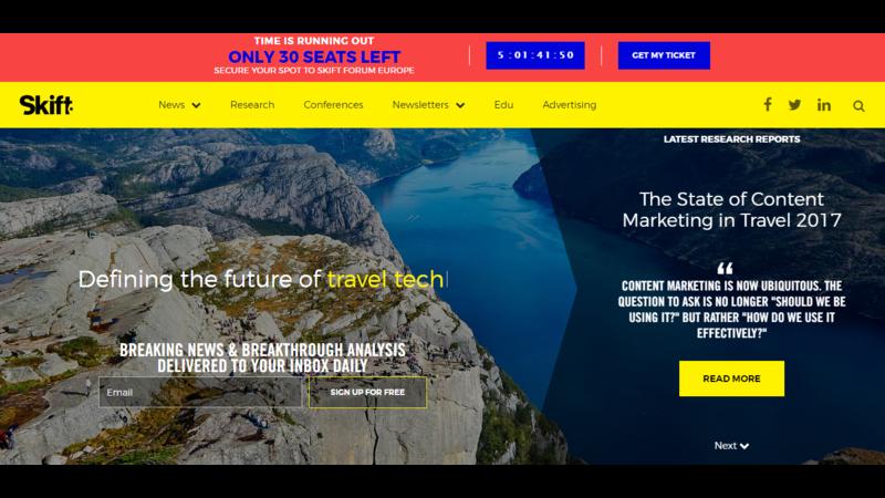 skift, travel websites for tour operators, travel websites, travel industry, travel websites to learn from, tour and travel, travel news, travel industry trends, website