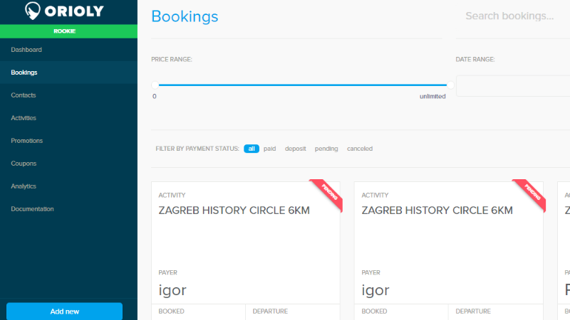 orioly, booking button, payment gateway, dashboard