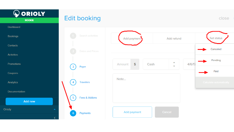 orioly. booking button dashboard