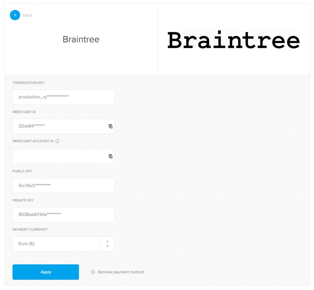 braintree payment getaway