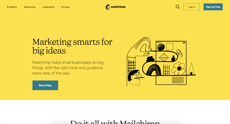 Mail chimp website screenshot