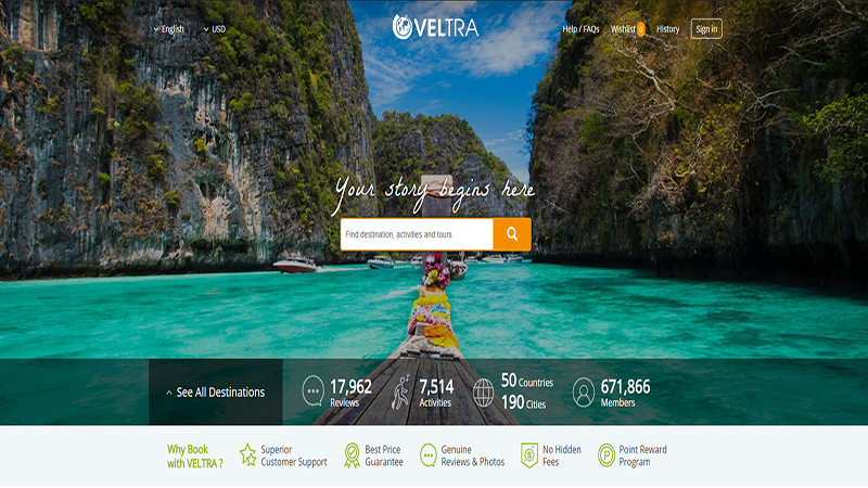 distribution channels for tours and activities, online travel agent, booking, Veltra, to book,
