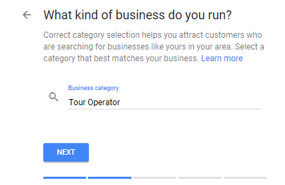 Google My Business for Tour Operators - Step 4 - Select a business category