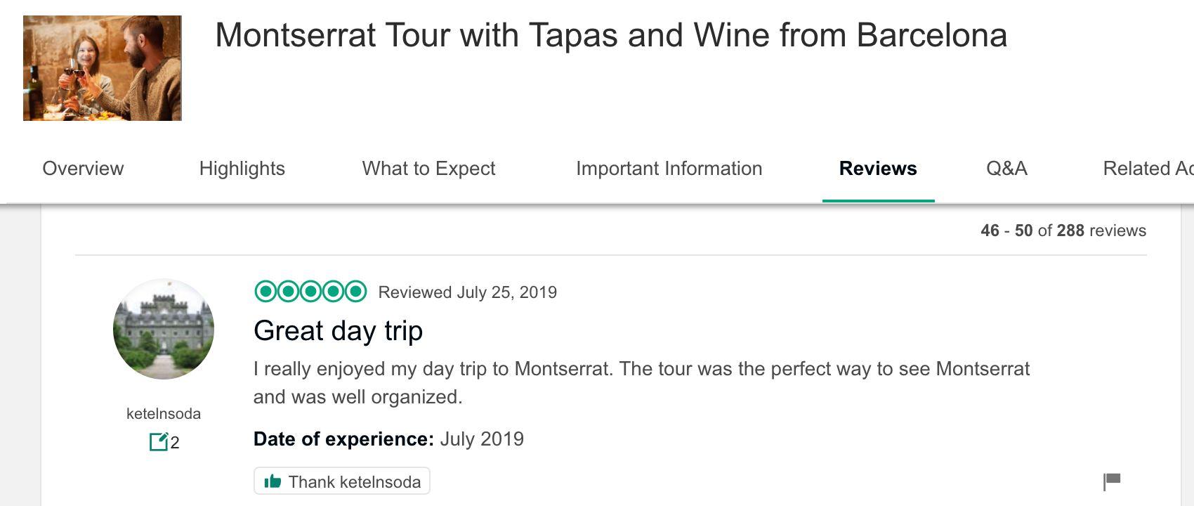 Poor review on TripAdvisor