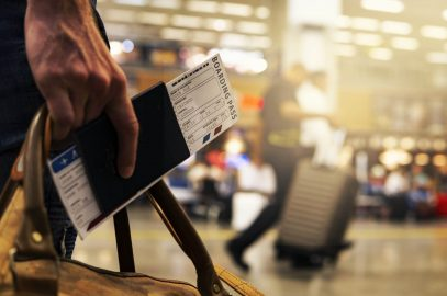 Tourist boarding on a plane