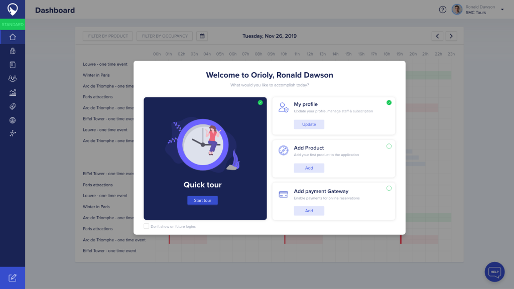 New onboarding process Orioly for tour operators