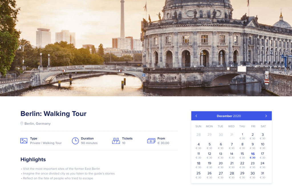Orioly new calendar widget for online booking