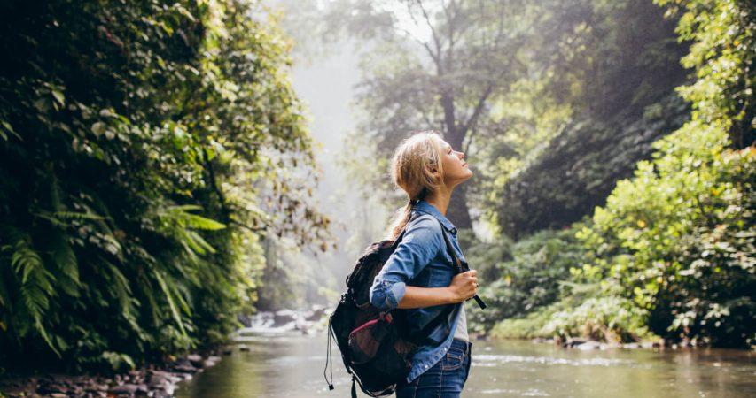 Eco conscious tourists enjoying nature on a sustainable destination