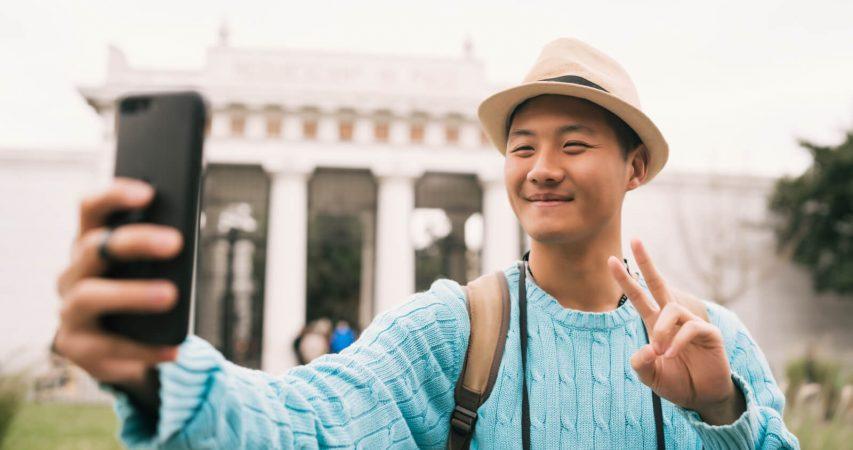 Chiinese tourist traveling abroad