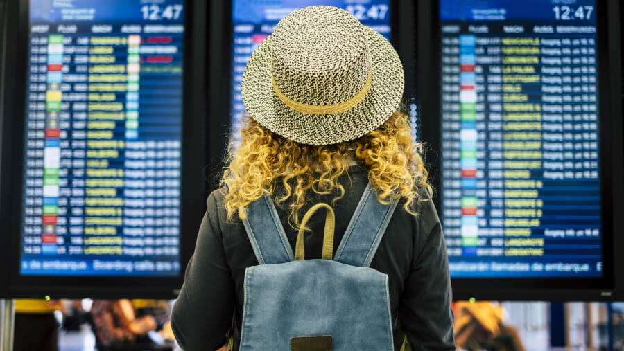 Female tourist at the airport