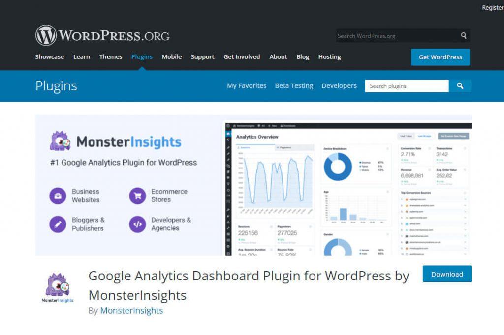 MonsterInsights WordPress plugin page screenshot