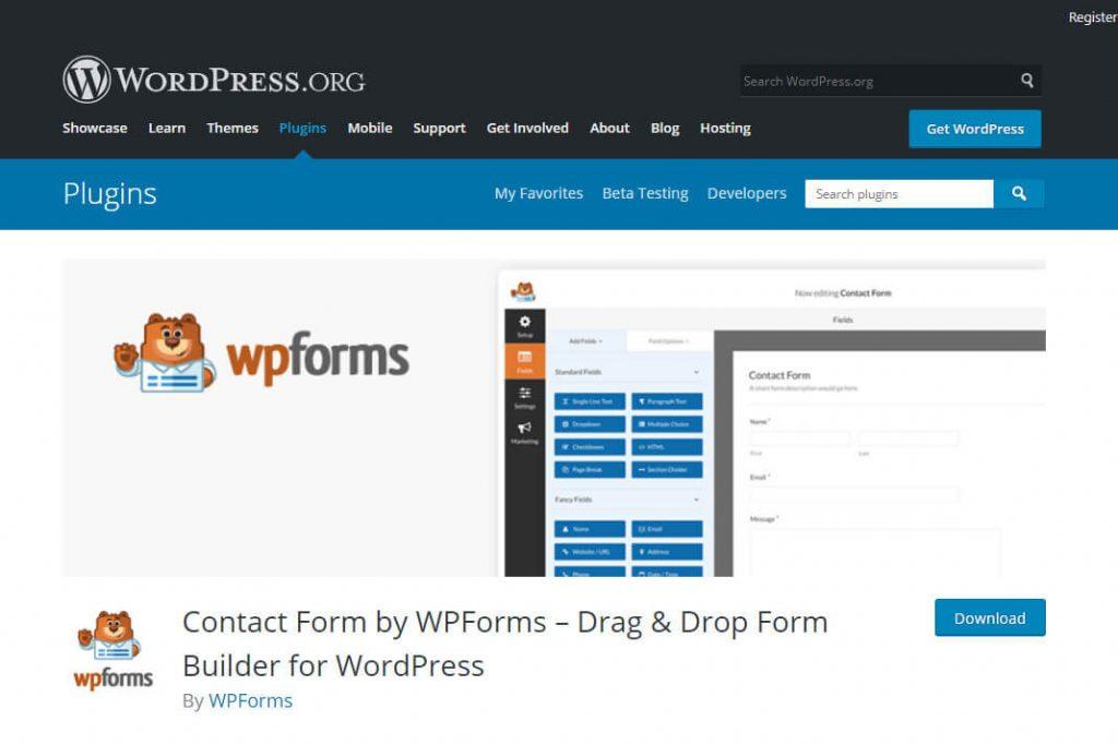 WPForms plugin page screenshot