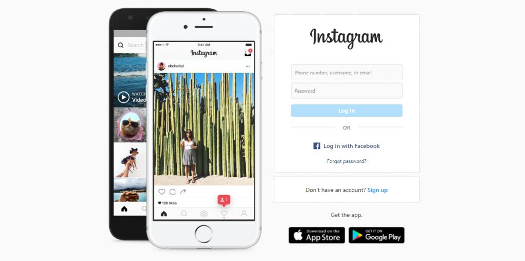 Instagram website screenshot
