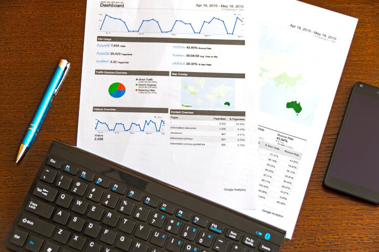 Marketing reports representing travel statistics from 2020