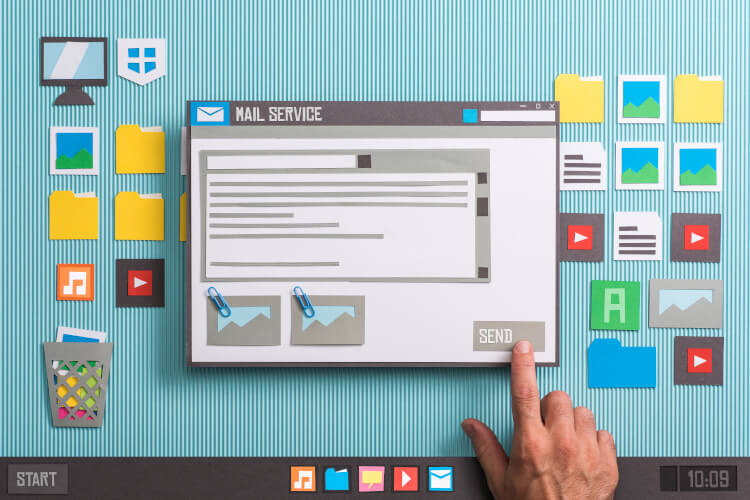 Email nurture desktop illustration