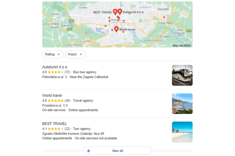 Google my Business local 3-pack