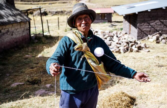 peruvian woman farm
