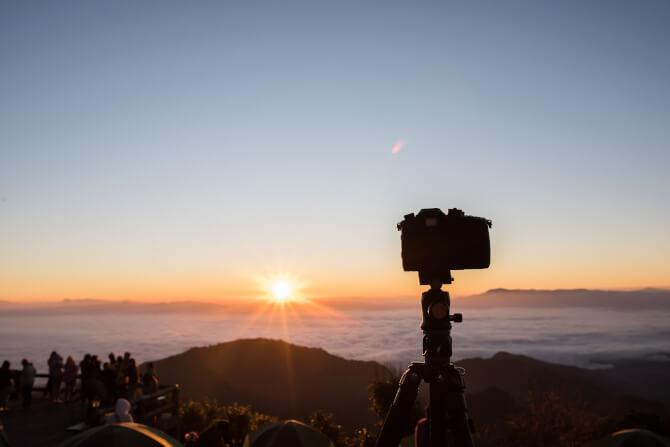 professional camera stand on tripod