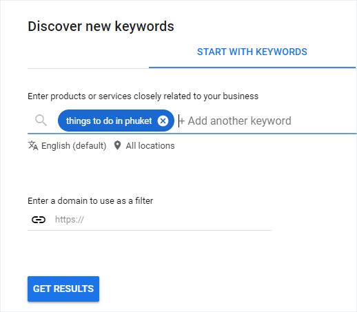 google keyword planner best keywords for travel websites