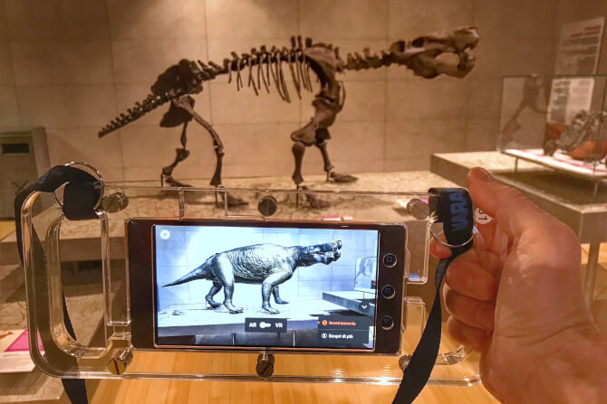 dinosaur skeleton and augmented reality smart destinations