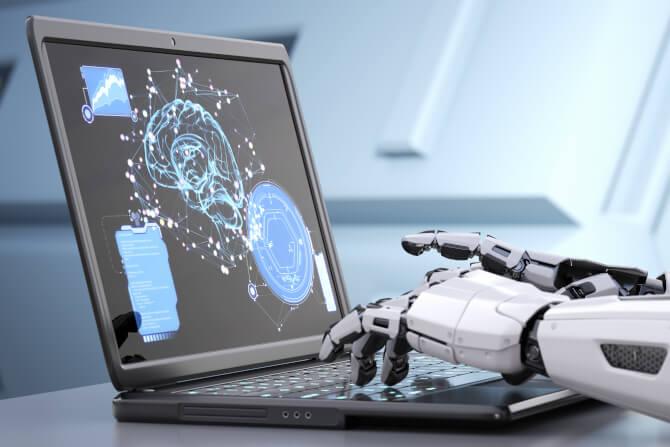 robot hands typing on keyboard smart destinations
