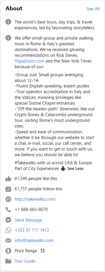 walks facebook page tours facebook
